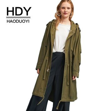 HDY Haoduoyi Winter Autumn Trench Coat Hooded Drawstring Waist Cotton Coat Women  Zipper Front Trench Pockets Outwear