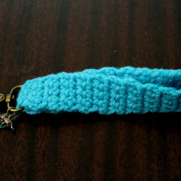 Crocheted Turquoise Keychain Wristlet with Charms