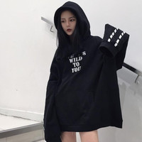 Hiphop Gothic Oversize Letter Printing With Hood Sweatshirt Harajuku Women's Pullovers Hoodies