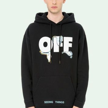 PEAPUF3 OFF-WHITE Fashion Casual Hoodie Long Sleeve Drawstring Top Sweater Sweatshirt
