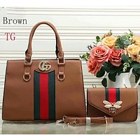 Gucci two sets of beautiful women trendy leather handbag F-LLBPFSH Brown