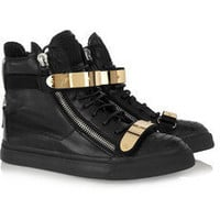 Giuseppe Zanotti|Embellished leather high-top sneakers|NET-A-PORTER.COM