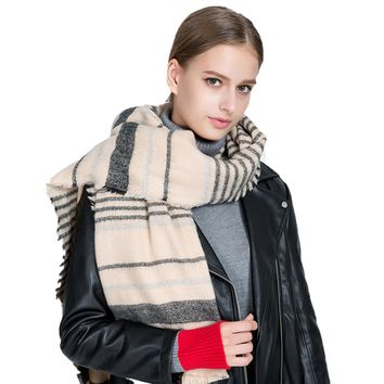 Women Winter Long Warm Wool Casual Striped Scarf Pashmina (5 colors available)