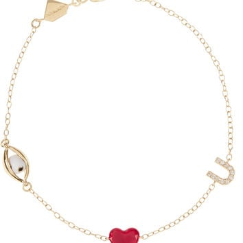 Alison Lou - Eye Heart U 14-karat gold, diamond and enamel bracelet