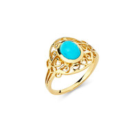14K Yellow Gold Turquoise Ring, Turquoise Ring, Gold Ring, Turquoise Jewelry, Gold Jewelry, Fancy Ring, Fancy Jewelry, Turquoise, Ring