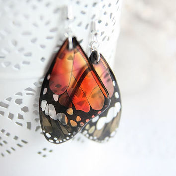 Orange earrings for women gift for girlfriend gift Butterfly earrings Resin jewelry Orange jewelry Gift for nature lover gift Unique jewelry