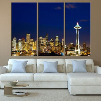 Washington Seattle city skyline Canvas Print wall art, extra large wall art, canvas art for large wall, Seattle art print wall decor t118