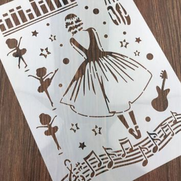 1PC Musical ballet girl Shaped Reusable Stencil Airbrush Painting Art DIY Home Decor Scrap booking Album Crafts