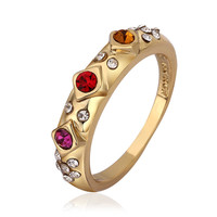 Rhinestone Crystal Flush 18K Real Gold Plated Ring