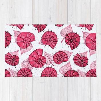 Pink Snails And Leaves Ink Drawn Pattern Rug by borianagiormova