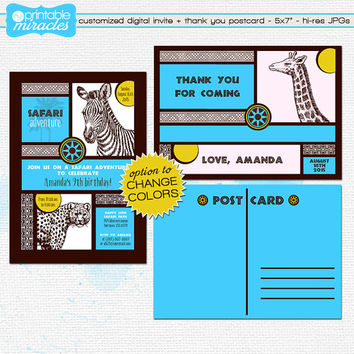 Safari birthday invitation & thank you card, Zebra invite, Blue safari theme, Jungle animals custom digital invitation kit