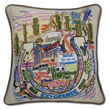 Big Bend Hand Embroidered Pillow