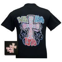 Girlie Girl Original Faith Hope Love Cross Black Christian Bright T Shirt