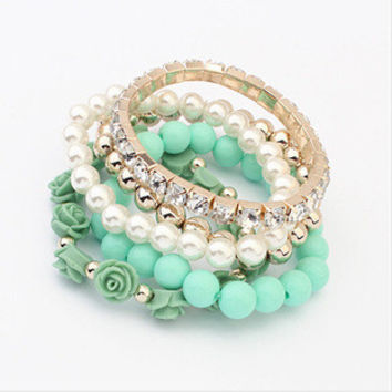 Star Jewelry 6 Colors   New Fashion Crystal With Beads Flower Charm Bracelets Bangles for Women Ladies Gift