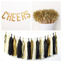 New Year's Eve Party Pack - Tassel Garland, Drink Stirrers, Glitter Banner - Party Decoration // New Year's Eve Party // Wedding Decor