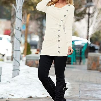 Side button down sweater, jegging, wedge buckle boot