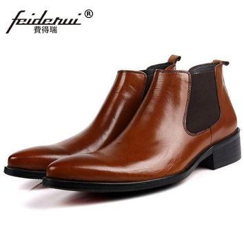 New Arrival Man Cowboy Handmade Shoes Male Italian Designer Genuine Leather Pointed Toe Luxury Men's Chelsea Ankle Boots QC35