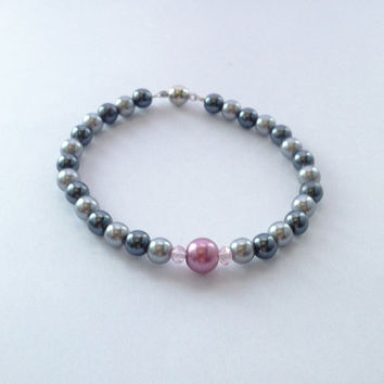 Pink and two-tone silver faux pearl bracelet with a magnetic clasp - classy, classic, vintage style