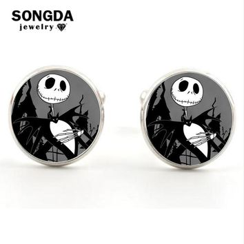 SONGDA The Nightmare Before Christmas Series Cufflinks Jack Skull Cuff Links Round Glass Dome Silver Bronze Shirt Cuff Buttons