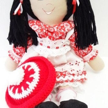 18 inch handmade homemade cloth rag doll little girls surprise red, NF89