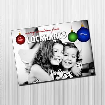 Custom Photo Holiday Card - Digital File Photo Holiday Card - Pop of Color