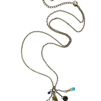 Licensed cool DISNEY Alice in Wonderland Long Cluster Charm Pendant Necklace Teacup Key Bottle