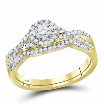 10kt Yellow Gold Women's Round Diamond Twist Bridal Wedding Engagement Ring Band Set 1/2 Cttw - FREE Shipping (US/CAN)