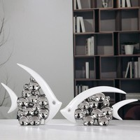 Silver Plated Bouble Couple Kiss Fish Vase Modern Europe Ceramic Furnishing Articles Office Home Livingroom Ornament Decoration