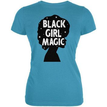 PEAPGQ9 Black History Month Black Girl Magic Afro Juniors Soft T Shirt