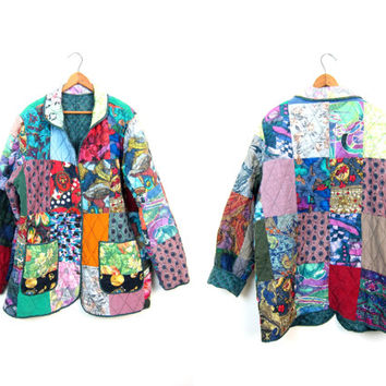 Patchwork SILK Jacket Quilted Silk Coat Colorful Boho Festival Jacket Button Up Printed Silk 90s Blazer Silk Robe Overcoat Womens Large XL