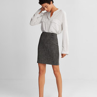 High Waisted Tweed Corset Pencil Skirt