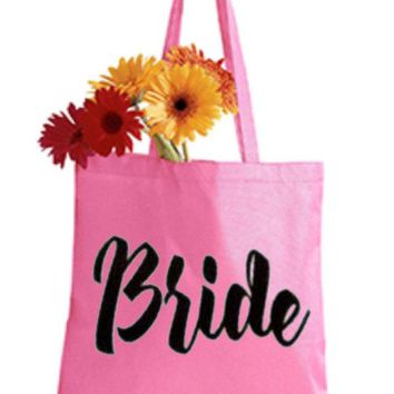 Bride Pink Tote Bag - Bride to Be, Newlywed, Bridal, Wedding, Shower, Bachelorette Party Gift