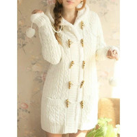 Beige Womens Long Sleeved Horn Button Cardigan Sweater One Size MM0463be