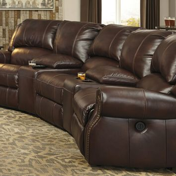 5 pc collinsville collection chestnut colored leather match theater sectional sofa with three recliners