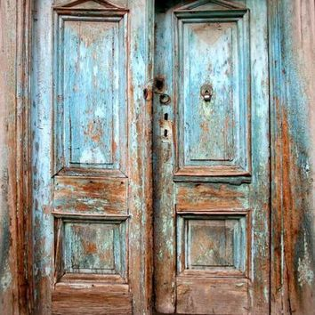 BLUE RUSTIC VINTAGE DOORS PRINTED PHOTOGRAPHY BACKDROP - 6x8 - LCPC1062 - LAST CALL
