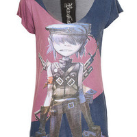 HOUSE OF THE GODS  Gorillaz Character Cut Blue  Viscose T-shirt with print  - T-Shirts