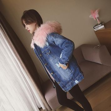 Denim Jacket Women Faux Fur Coat Long Parka Warm Fleece Velvet Pockets Hoody Outwear Manteau Denim Coat Jeans Parka Female