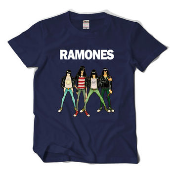 Ramones Mens Retro Logo American Punk Rock Band tee shirts