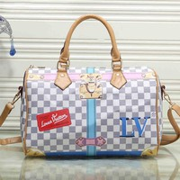 Louis Vuitton Women Fashion LV Handbag Bag Cosmetic Bag Medium Bag White Tartan