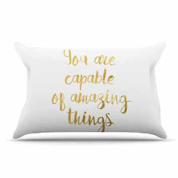 "NL Designs ""Amazing Things"" Gold White Pillow Sham"