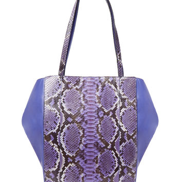 Carlos Falchi Women's Bell Python & Leather Tote - Purple