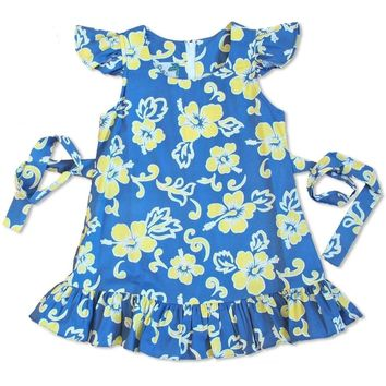 Kailua Yellow Hawaiian Girl Cotton Dress