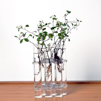 Clear 6 Tubes Shape Flower Glass Vase Fish Tank Home Decoration