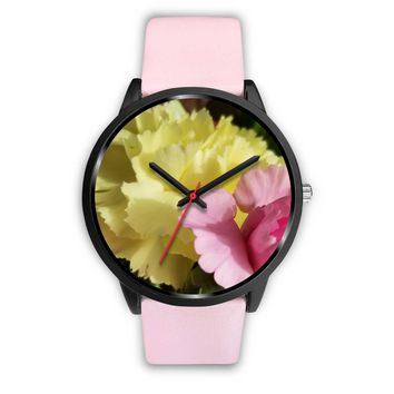 Pink & Yellow Carnation Watch