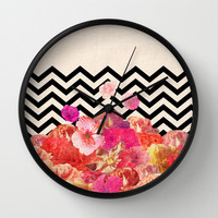 Chevron Flora II Wall Clock by Bianca Green
