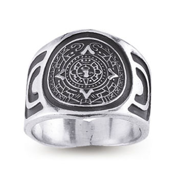 Men's Sterling Silver Mayan Sun Ring