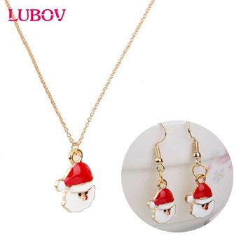 2018 New Christmas Gift Jewelry Santa Claus Snowman Snowflake Gift Box Pendant Necklace Earrings Set Christmas Jewelry for Women