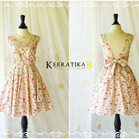A Party Dress V Shape Dress Creamy Sundress Floral Spring Summer Dress Pale Yellow Pink Floral Bridesmaid Dress Backless Party Dress XS-XL