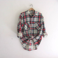 Vintage red Plaid Flannel / Grunge Shirt / cotton button up shirt
