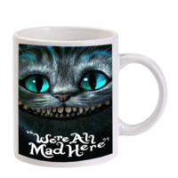 Gift Mugs | Cheshire Cat Were All Mad Here Ceramic Coffee Mugs